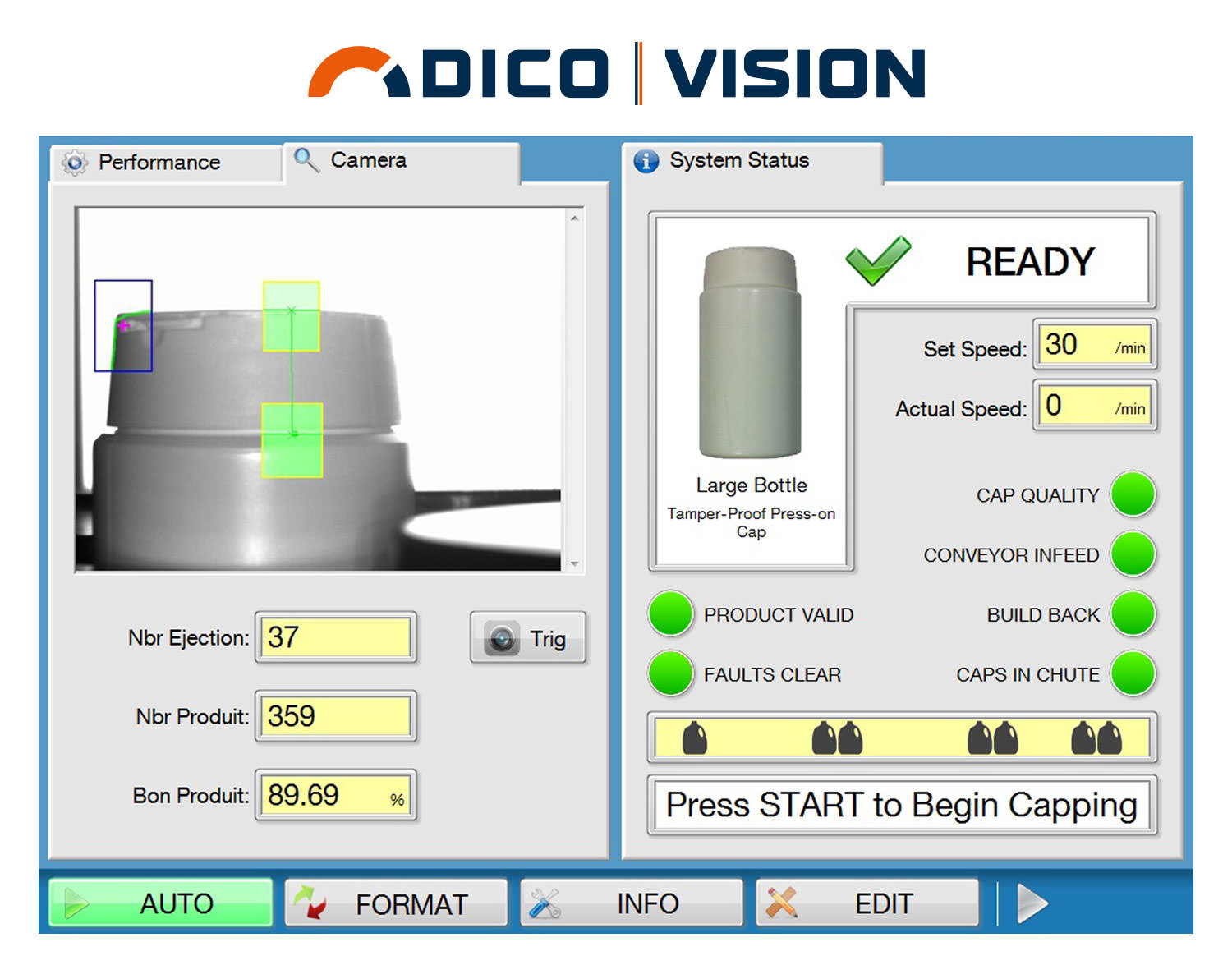 Dico Vision system for capping machine